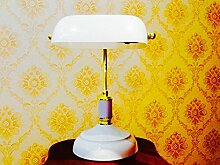 Klassische Schreibtischlampe Bankerlampe Tischlampe Weiß/Gold