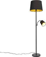 Klassische Stehlampe schwarz mit Gold und