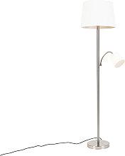 Klassische Stehlampe Stahl mit weißem Schirm und