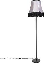 Klassische Stehleuchte schwarz mit Granny B Schirm