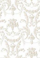 Klassische Tapete Shabby taupe auf Boden Weiß