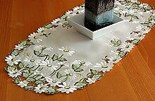 klassische TISCHDECKE 40 x 90 cm oval champagner Gänseblümchen grün weiß gestickt (Tischläufer 40x90 cm oval)