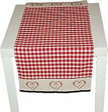 klassische Tischdecke 40x85 cm rechteckig BAUMWOLLE Beige Rot Kariert rustikales LANDHAUS Bauernhaus (Tischläufer 40x85 cm)