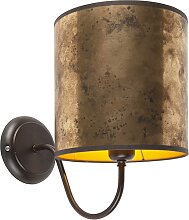 Klassische Wandlampe braun mit Bronzeschirm - Matt