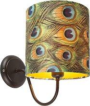 Klassische Wandlampe braun mit Schirm Velours