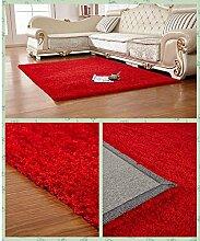 Klassische Wohnzimmer Teppich Super Soft Polster Teppich Polster Schlafzimmer Teppich Trocken Reinigen (Rot, 120cm×170cm)