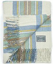 Klassische Wolldecke in schottischen Karomuster in Schossgrösse Stewart Muted Blau