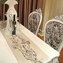 Klassischen Luxus Gehobene Klassische Home Tischläufer,Europäische Restaurants Geschäfte Weißen Läufer Tischmodell-A 33x180cm(13x71inch)