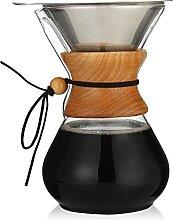 Klassischer Glas Kaffeetopf Dripper mit Holzgriff