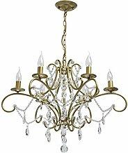 Klassischer Kerzen Kronleuchter 6 armig Gold