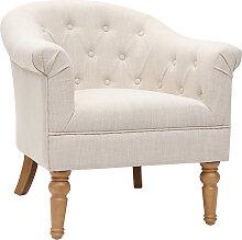 Klassischer Sessel naturfarbener Stoff helle