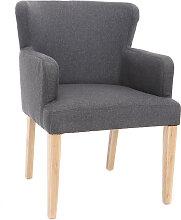 Klassischer Sessel Stoff Dunkelgrau Füße aus