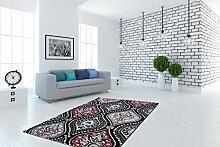 Klassischer Teppich Klassisch Orient Teppiche Flachflor Lurex Glitzer Effekt Rot, Größe:160cm x 230cm