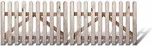 Klassisches Gartenzaun + Friesenzaun zweiflügliges Zauntor günstig Maß 300 x 100 cm (Breite x Höhe) aus Kiefer / Fichte Holz, druckimprägniert + genagel
