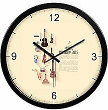 Klaviermusik Stumm Wanduhr/Einfache Persönlichkeit Moderne Wanduhr/Art Klassenzimmer Uhr-J 14Zoll
