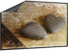 Klebefieber Fußmatte Steinherzen mit Text B x H: 85cm x 60cm