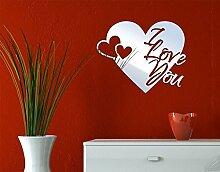 Klebefieber Spiegel-Design Schriftzug I Love You B x H: 60cm x 49cm