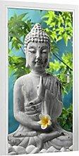 Klebefieber Türtapete Buddha mit Jasminblüten B x H: 91cm x 200cm