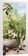 Klebefieber Türtapete Mediterraner Oliventraum B x H: 91cm x 200cm
