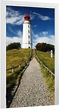 Klebefieber Türtapete Weg zum Leuchtturm B x H: 101cm x 200cm