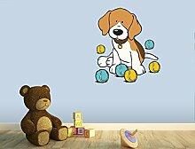 Klebefieber Wandtattoo Beagle mit bunten Bällen B x H: 69cm x 80cm