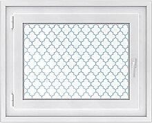 Klebefolie für Fenster - hochwertige Glasdekor-folie | Fensterbild - selbstklebend und einfach anzubringen | Fensterfolie für Küche, Bad und Wohnraum | Design Retro Pattern - Blau - 70 x 50 cm