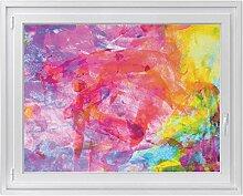 Klebefolie für Fenster - hochwertige Glasdekor-folie | Fensterbild - selbstklebend und einfach anzubringen | Fensterfolie für Küche, Bad und Wohnraum | Design Abstract Watercolor - 120 x 90 cm