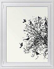 Klebefolie für Fenster - selbstklebendes Fensterbild | dekorative Glasdekor-folie - Aufkleber Sticker für Fenster und Spiegel | Home Deko - Do it yourself | Design Tree and Birds 2 - 90 x 120 cm