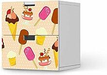 Klebefolie für IKEA Stuva Kommode - 2 Schubladen | Muster Möbel-Folie Sticker Möbelfolie selbstklebend | Einrichtung aufpeppen Raumgestaltung | Design Motiv Popsicle