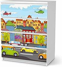 Klebefolie IKEA Malm 4 Schubladen Möbel-Sticker Design City Life DIY-Dekoration