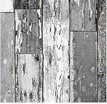 Klebefolie Scrapwood grau dunkel Möbelfolie altes