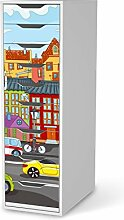 Klebefolie Tapete Folie für IKEA Alex Schreibtisch-9 Schubladen | Dekofolie Kinder-Zimmer Möbeldekor | fröhliche Einrichtungsideen Kinderzimmer Möbel Wandgestaltung | Kids Kinder City Life