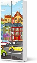 Klebefolie Tapete Folie für IKEA PaxSchrank 236 cm Höhe - 2 Türen | Möbelfolie Kinderzimmer Dekoration Möbeltattoo | Dekorationsideen Kinderzimmer Möbel Wandtattoo | Kids Kinder City Life