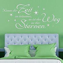 KLEBEHELD® Wandtattoo Spruch Nimm dir Zeit zu träumen, es ist der Weg zu den Sternen. - Schlafzimmer Wandeko - Farbe lehmbraun, Größe 180x77cm