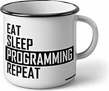 Klebemonster24 Emaille Becher mit Schwarzem Rand M Eat Sleep Programming Repeat … Fotogeschenke Tassen Becher für Kaffee Tee Emaille