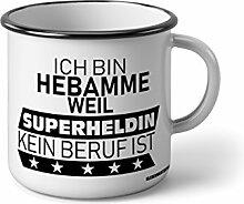 Klebemonster24 Emaille Becher mit Schwarzem Rand M Ich bin Hebamme weil Superheldin kein beruf ist … Fotogeschenke Tassen Becher für Kaffee Tee Emaille