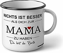 Klebemonster24 Emaille Becher mit Schwarzem Rand M nichts ist besser als dich zur mama zu haben2 … Fotogeschenke Tassen Becher für Kaffee Tee Emaille