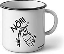 Klebemonster24 Emaille Becher mit Schwarzem Rand M Nö !!! … Fotogeschenke Tassen Becher für Kaffee Tee Emaille
