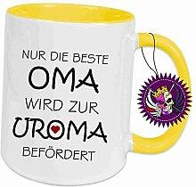 Klebemonster24 Spruchtasse Funtasse Gelb voll Nur die Beste Oma wird zur Uroma befördert … Bedruckte Tasse Becher für Kaffee Tee