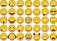 Kleberio Aufkleber 105 Smileys je 3,5 x 3.5 cm ( Sticker je Motiv) Auto Motorrad Carravan Kinderzimmer für Innen & Außen geeigne