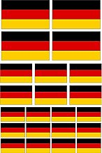 Kleberio® Aufkleber 44 Fahnen Deutschland wetterfest Flagge Auto Motorrad Carravan für Innen & Außen geeigne