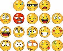 Kleberio Aufkleber 54 Smileys je 4 x 4 cm (3 Sticker je Motiv) Auto Motorrad Carravan Kinderzimmer für Innen & Außen geeignet Art. Nr. 40032