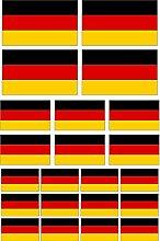 Kleberio® Aufkleber 66 Fahnen Deutschland wetterfest Flagge Auto Motorrad Carravan für Innen & Außen geeigne