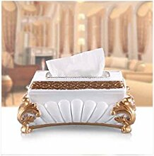 Kleenex - box Papier-Handtuch-Box Europäische kreative Zeichnung Karton Heimtextilien Desktop Multifunktions-Schublade ( Farbe : Silber )