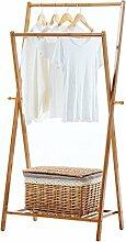 Kleiderablage Bambus Garderobe, Stehend Mantel Hut Rack Schlafzimmer Kleiderbügel zusammenklappbar Regal Bodenständer ( größe : 70*40*145CM )