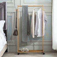 Kleiderablage Bambus Kleiderständer mit Rad, Stehend Mantel Hut Rack Schlafzimmer Kleiderbügel zusammenklappbar Regal Bodenständer ( größe : 80*38*133CM )