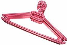 KLEIDERBÜGEL 10 Stück   WÄSCHE-BÜGEL ANZUG-BÜGEL aus robustem Kunststoff mit Gürtelhaken und Anti-Rutschrillen   Farbe: Rosa