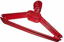 KLEIDERBÜGEL 10 Stück   WÄSCHE-BÜGEL ANZUG-BÜGEL aus robustem Kunststoff mit Gürtelhaken und Anti-Rutschrillen   Farbe: Ro