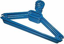 KLEIDERBÜGEL 10 Stück   WÄSCHE-BÜGEL ANZUG-BÜGEL aus robustem Kunststoff mit Gürtelhaken und Anti-Rutschrillen   Farbe: Blau