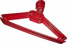 Kleiderbügel 100 Stück in Rot   Wäschebügel aus Kunststoff - Anzugbügel aus robustem Kunststoff mit Gürtelhaken und Anti-Rutschrillen